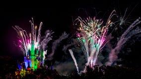 Disney Magic Kingdom Fireworks. Orlando, Florida – Sept 4: The famous Wishes nighttime spectacular fireworks light up the sky at the Disney Magic Kingdom Stock Image