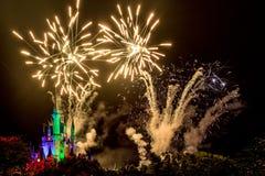 Disney Magic Kingdom Fireworks. Orlando, Florida – Sept 4: The famous Wishes nighttime spectacular fireworks light up the sky at the Disney Magic Kingdom Stock Photography