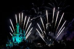 Disney Magic Kingdom Fireworks. Orlando, Florida – Sept 4: The famous Wishes nighttime spectacular fireworks light up the sky at the Disney Magic Kingdom Stock Images