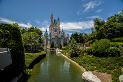 Disney Orlando Castle. Walt Disney World Orlando resort with Castle and waterway Stock Photography