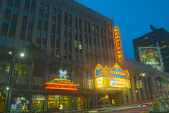 Disney Outlets and El Capitan Theater At Night Royalty Free Stock Photo