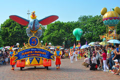 Disney parade. The famous disney parade at disneyland, hong kong while spectators watching Royalty Free Stock Photo