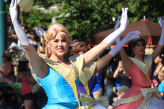 Disney Parade at Disneyland. Anaheim, California, USA - May 30, 2014: Performers in Beautiful Princess Dresses in Disney Parade at Disneyland, California Royalty Free Stock Photo