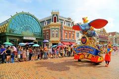 Disney parade of disneyland, hong kong. Visitors at the disney flights of fantasy parade at main street of disneyland, hong kong Stock Photos