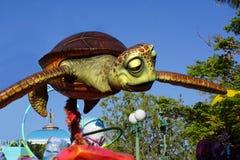 Disney Pixar Finding Nemo Disneyland. Parade of Pixar animation film Finding Nemo sea turtle delights children at the California Adventure Disney park. Finding royalty free stock photography