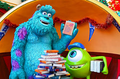 Disney pixar monsters characters. Famous characters from disney pixar movie, monsters inc. james p. sulley sullivan, and his one-eyed assistant and best friend Royalty Free Stock Image