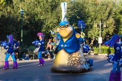 Disney Pixar Parade Monsters Inc. Roz, a character from the Pixar animated movie Monsters Inc is features in the California Adventure Disneyland parade stock image