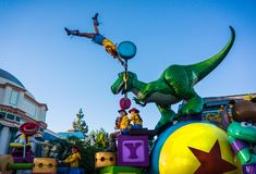 Disney Pixar Parade Toy Story. Character from the Pixar animated movie Toy Story are features in the California Adventure Disneyland parade stock photos