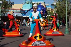 Disney Pixar Parade - The Incredibles. Characters from The Incredibles in the Disney Pixar California Adventure parade at Disneyland in Anaheim stock photography
