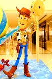 Disney pixar toy story cowboy woody on display. Famous animation character cowboy woody from disney pixar movie, toy story, on part of promotion of the latest stock photo