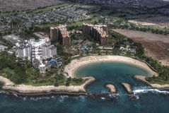 Disney`s Aulani Resort. Disney`s newest resort in Hawaii, Oahu. Taken from a helicopter Stock Photos