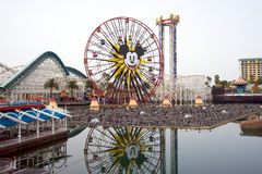 Disney's California Adventure. We see Mickey's wheel and roller coasters Royalty Free Stock Photography