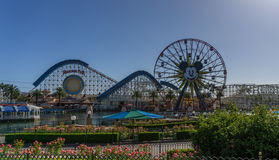 Disney's California Adventure. Ferris Wheel and roller coast on a perfect blue sky day Royalty Free Stock Images