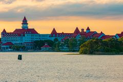 Disney`s Grand Floridian Resort & Spa on sunset background at Walt Disney World 1. Orlando, Florida. April 02, 2019. Disney`s Grand Floridian Resort & Spa on stock photo