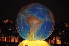 Disney Sea Tokyo Japan -. Earth revolving on water flashed with yellow light at Tokyo Disneysea Japan Stock Photography