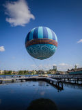Disney Springs Mall Ballon Ride. Beautiful outdoor shopping mall in Orlando, Florida with palm trees, restaurants, boutique stores and special food shops.  A Stock Photography