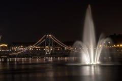 Disney Springs Orlando, FL Night Lighted Bridge w/Water Fountain stock photos