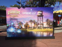 Disney Springs Starbright Holiday performance. Starbright Holidays featuring drones advertised at Disney Springs in Orlando, Florida stock images