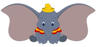 Disney vector illustration of Dumbo isolated on white background, baby elephant with big ears, fantasy cartoon character. Disney vector illustration of Dumbo vector illustration