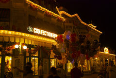 Disney-wereld bij nacht Royalty-vrije Stock Afbeeldingen