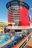 The Disney Wonder's funnel under California sky Stock Image