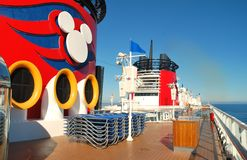 The Disney Wonder's funnels under California sky Royalty Free Stock Photo