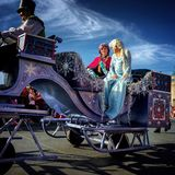 Disney world Christmas parade. Frozen characters Elsa and Anna at Disney World magic kingdom Christmas Holiday parade,Orlando,Florida 2015 Royalty Free Stock Photos