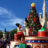 Disney world Christmas parade. Mickey and Minnie at Disney World magic kingdom Christmas Holiday parade,Orlando,Florida 2015 Royalty Free Stock Images