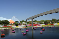 Disney World Flowers. An image of the of a lake and the monorail  representative of the 2014 Epcot's International Flower and Garden Festival at Disney World Royalty Free Stock Images