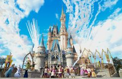 Disney world Characters. Magic Kingdom. Disney`s Magic Kingdom Characters Cinderella castle, Mickey, Disney Frozen Elsa and Anna live play with fireworks. Photo stock photography