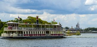 Disney World Orlando Florida Magic Kingdom Mississippi  paddle steamer and cinderella princess  castle Royalty Free Stock Image