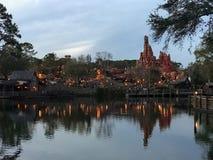 Splash Mountain, Disney World, Orlando, Florida. Disney World in Orlando, Florida.  The sun sets on Splash Mountain Stock Image