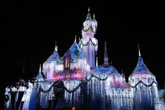 Disneyland. December 2009, Anaheim, CA: The castle inside Disneyland park lighted up for the holidays Stock Photos