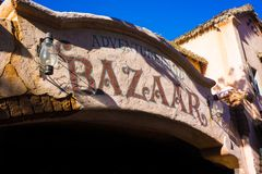 Disneyland Bazaar in Adventureland. Sign above shopping in Disneyland, California famous ride The Jungle Cruise in Adventureland stock photos
