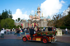 Disneyland Castle. With Christmas decoration. An old fire truck is in front of the castle Royalty Free Stock Images