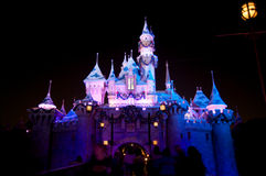 Disneyland Castle with Christmas decoration. At night Royalty Free Stock Image