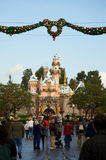 Disneyland Castle with Christmas decoration Stock Photography