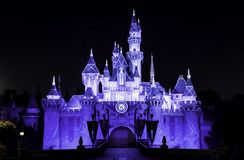 Disneyland Castle during Diamond Celebration. Sleeping Beauty Castle lit up at night during Disney's 60th anniversary Diamond Celebration. Photo taken on Stock Images