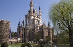 Disneyland castle. Tokyo Disneyland Disney princess tower for Cinderella royalty free stock photo