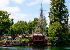 Disneyland Columbia Ship Replica. Disneyland Frontier Land features the iconic replica of the Columbia sailing ship. Located near Los Angeles in Anaheim Stock Photos