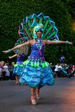 Disneyland Fantasy Parade Dancers in Peacock Costume. Disneyland has thousands of visitors each day that come to watch the Fantasy Parade - complete with Royalty Free Stock Photo
