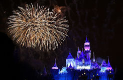 Disneyland Fireworks. Disneyland castle with fireworks in the sky royalty free stock photo