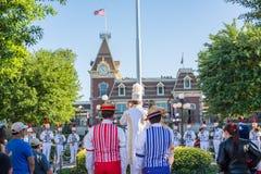 Disneyland flag retreat ceremony. Stock Photos