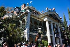 Disneyland Halloween Haunted House. Disneyland decorated for Halloween. Haunted Mansion decorated for October holiday Stock Photography