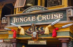 Disneyland Jungle Cruise Signage. Disneyland Jungle Cruise ride entrance. The park is located near Los Angeles in Anaheim, California royalty free stock photography