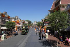 Main Street, USA, Disneyland. The Main Street, USA located in Disneyland, CA.  This picture shows omnibus and the Sleeping Beauty Castle at the end of the Royalty Free Stock Image