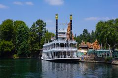 Disneyland Mark Twain Steamboat Paddleboat. Disneyland California Mark Twain steam boat takes guests around To Sawyer Island by way of the Rivers of America stock photo