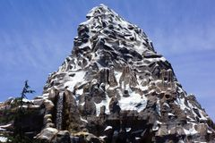Disneyland Matterhorn Mountain. Disneyland Matterhorn rollercoaster ride inside the Matterhorn Mountain. In the folklore of Nepal, the Yeti or Abominable Snowman stock photo