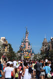 Disneyland Paris. Paris, France, July 11th 2010:Crowd of tourists on the main street in Disneyland Paris. In the distance you can see the Princesse's Castle stock photos