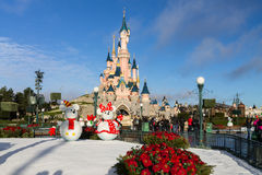 Disneyland Paris Castle on Christmas Stock Photography